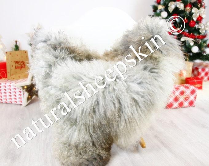 Genuine Rare Gotland Sheepskin Rug - Curly Fur Rug - Natural Sheepskin - Gray  Sheepskin #CHRISTGOT5