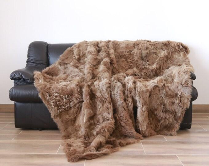 Luxurious Toscana Sheepskin Real Fur Throw | Real Fur Blanket | Sheepskin throw | Blonde Throw