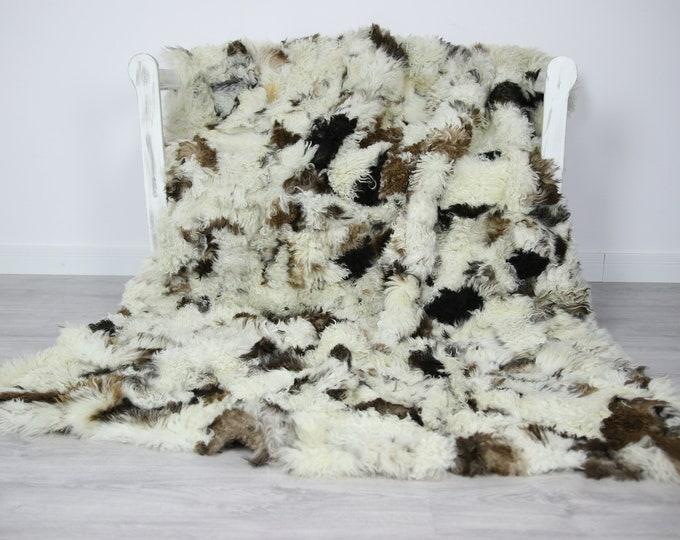 Luxurious Toscana Sheepskin Real Fur Throw   Real Fur Blanket   Sheepskin throw   patchwork Throw
