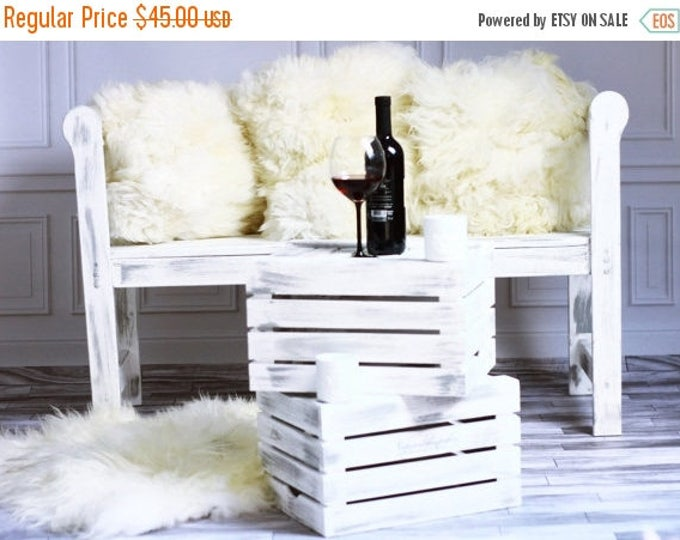 ON SALE Beautiful Natural Creamy White Real Sheepskin Decorative Cushion Both Side Fur Scandinavian Style
