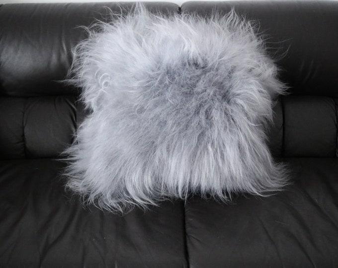 Real Icelandic Gray Sheepskin Pillow Sheepskin Cushion
