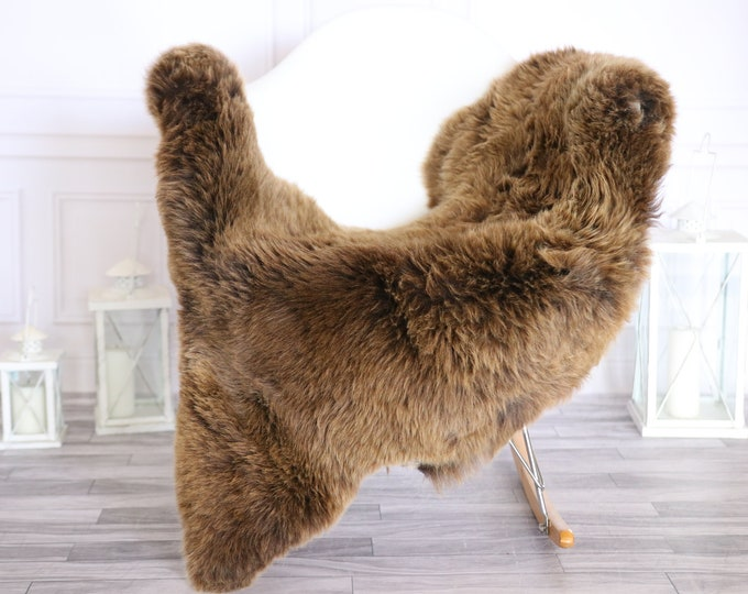 Sheepskin Rug | Real Sheepskin Rug | Shaggy Rug | Scandinavian Rug | | SCANDINAVIAN DECOR | Brown Sheepskin  #MIHER47