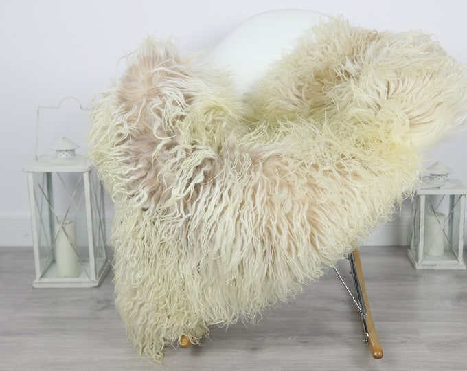 Genuine Rare Mongolian Sheepskin Rug - Curly Fur Rug - Natural Sheepskin - Beige Ivory Sheepskin #CURLY6