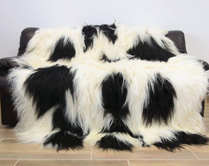 Real Sheepskin Icelandic Blanket Throw, Fur Sofa Throw, Scandinavian Decoration, Throws for sofa,  Sofa throws,  Luxury throws