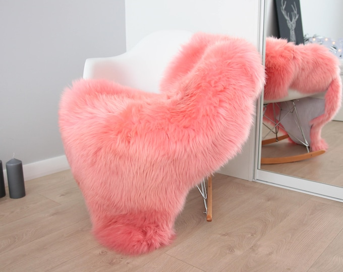Genuine Natural Pink Sheepskin Rug Sheepskin Throw  Scandinavian Style   Scandinavian Rug  Pink Sheepskin