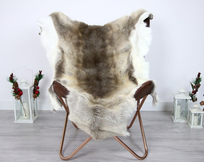 Reindeer Hide | Reindeer Rug | Reindeer Skin | Throw  - Scandinavian Style #ERE4 135x110 | Christmas Decor |