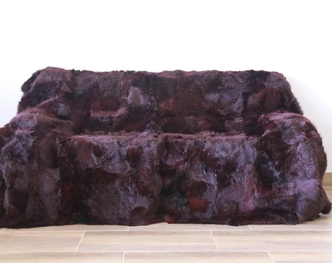Luxurious Toscana Sheepskin Real Fur Throw | Real Fur Blanket | Sheepskin throw | Plum Throw