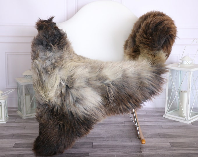 Sheepskin Rug | Real Sheepskin Rug | Shaggy Rug | Scandinavian Rug | | SCANDINAVIAN DECOR | Brown Gray Sheepskin #OLHER29