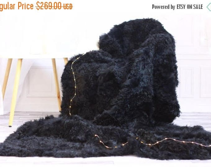 ON SALE Sheepskin Throw | Graphite Bed Throw | Graphite Fur Throw | Sofa Throw | Graphite Throw | Sheepskin Area Rug | Graphite Sheepskin Ru