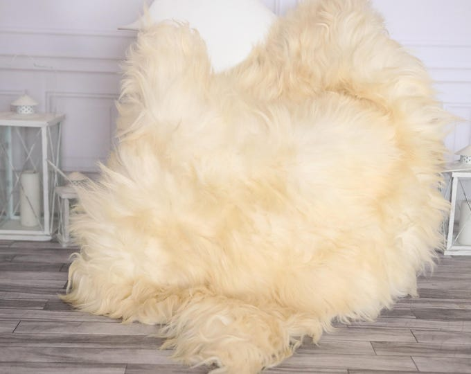 Sheepskin Rug | Real Sheepskin Rug | Shaggy Rug | Chair Cover | Sheepskin Throw | Ivory Sheepskin | CHRISTMAS DECOR | #NOVHER46