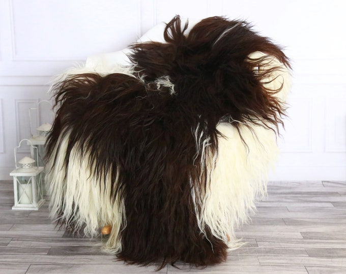 Icelandic Sheepskin | Real Sheepskin Rug | Sheepskin Rug Brown White | Fur Rug | Homedecor #WRZISL33