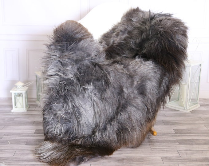 Icelandic Sheepskin | Real Sheepskin Rug |  Super Large Sheepskin Rug Gray Brown | Fur Rug | Homedecor #MIHISL1