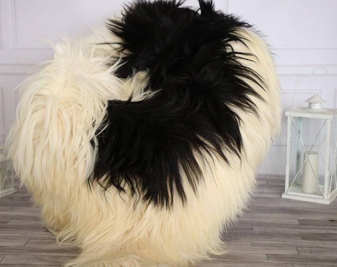 Icelandic Sheepskin | Real Sheepskin Rug |  Super Large Sheepskin Rug Beige Black | Fur Rug | Homedecor #APRISl36