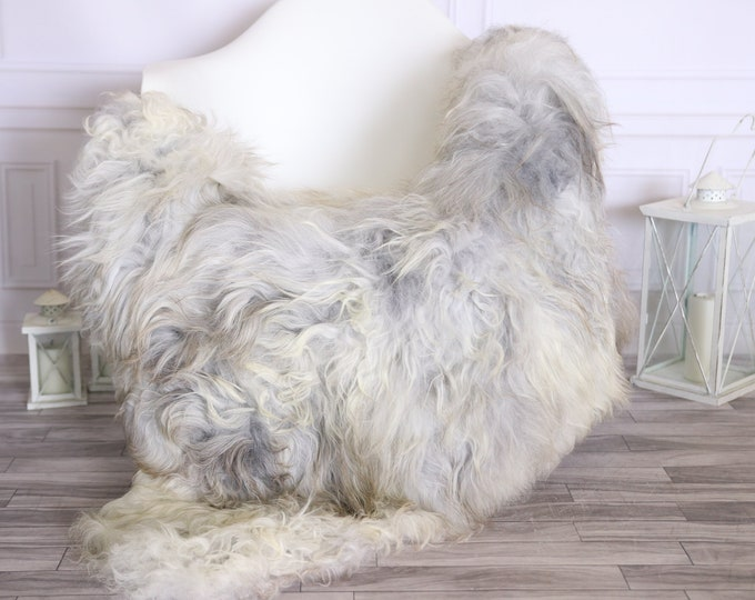 Icelandic Sheepskin | Real Sheepskin Rug |  Super Large Sheepskin Rug Gray Ivory | Fur Rug | Homedecor #MIHISL6