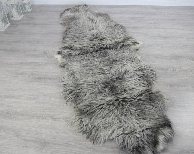 Double XXL Sheepskin Rug | Long rug | Shaggy Rug | Chair Cover | Runner Rug | Carpet | Gray White Sheepskin | Sheepskin Rug | Grayszy3