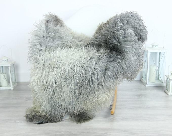 Genuine Rare Gotland Sheepskin Rug - Curly Fur Rug - Natural Sheepskin - Gray Sheepskin #GOTKW17