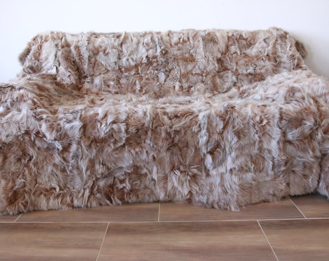 Luxurious Toscana Sheepskin Real Fur Throw | Real Fur Blanket | Sheepskin throw | Champagne Throw Champagne sheepskin