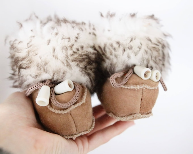 Baby Christmas Set Booties + Gloves | Baby first winter Booties | Sheepskin Slippers Booties | Winter Booties | Newborn leather Booties