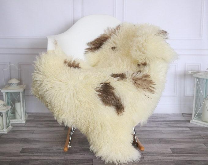 Genuine Rare Tuscan Lamb Sheepskin Rug - Curly Fur Rug - Natural Sheepskin - Ivory Brown Sheepskin | Small Sheepskin #2MARGOT2