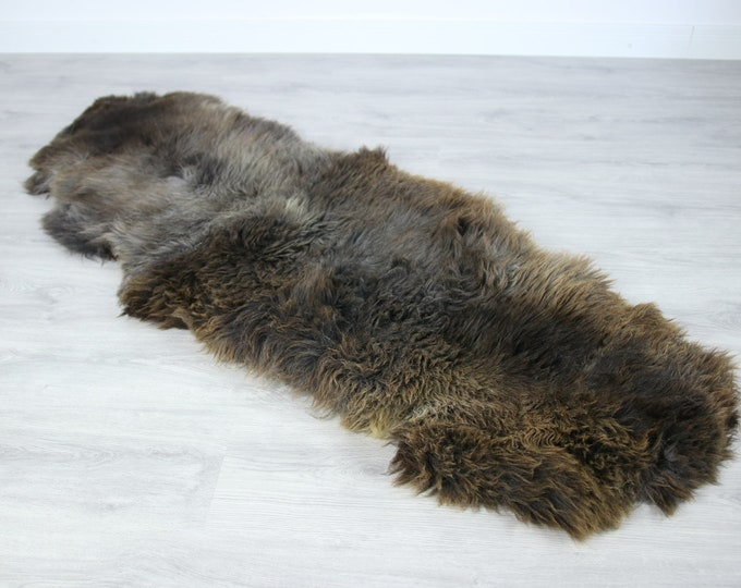 Double Sheepskin Rug | Long rug | Shaggy Rug | Chair Cover | Runner Rug | Carpet | Gray Brown Sheepskin | Sheepskin Rug | LUSZY18