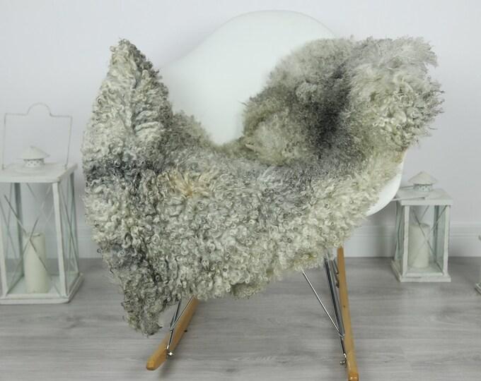Genuine Rare Gotland Sheepskin Rug - Curly Fur Rug - Natural Sheepskin - Gray Sheepskin #CURLY17