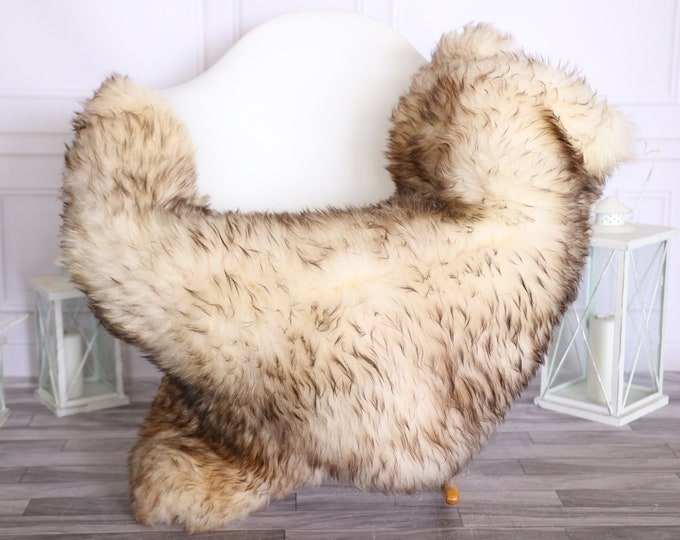 Sheepskin Rug | Real Sheepskin Rug | Shaggy Rug | Scandinavian Rug | | SCANDINAVIAN DECOR | White Brown Sheepskin #OLHER30
