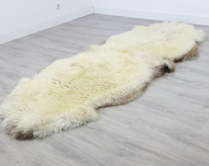 Double XXL Sheepskin Rug | Long rug | Shaggy Rug | Chair Cover | Runner Rug | Carpet | Beige Brown Sheepskin | Sheepskin Rug | 2DD3