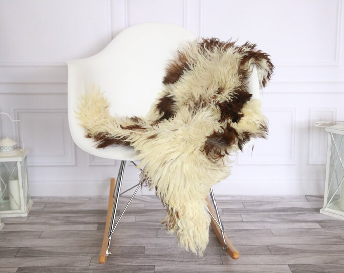 Genuine Rare Tuscan Lamb Sheepskin Rug - Curly Fur Rug - Natural Sheepskin - Beige Brown Sheepskin | Small Sheepskin #2MARGOT12