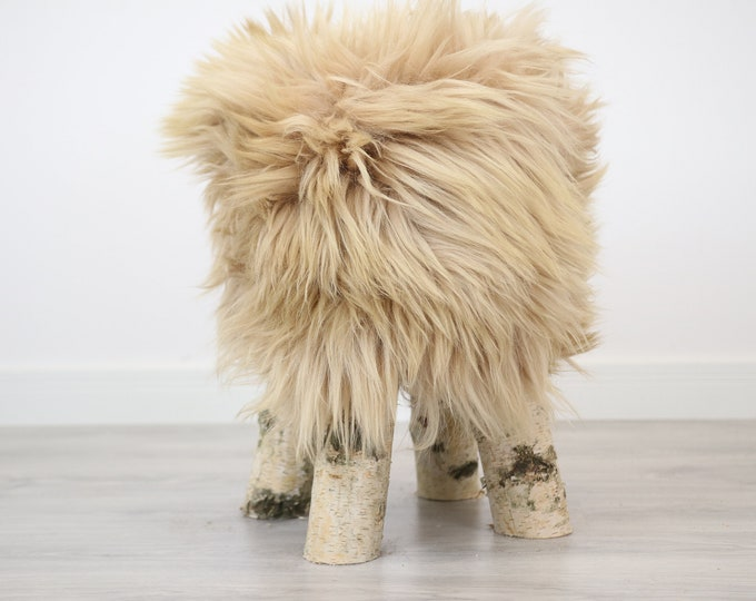 Wood Stool |  Fur Stool | Sheepskin pouf |Sheepskin stool | Vanity Stool | Birch tree stool | dirty pink fur stool