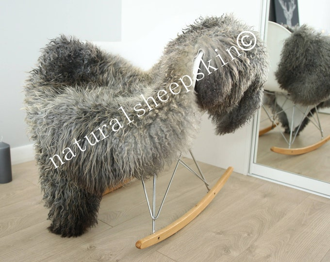 Genuine Rare Gotland Sheepskin Rug - Curly Fur Rug - Natural Sheepskin - Gray  Sheepskin #FEBGOT19
