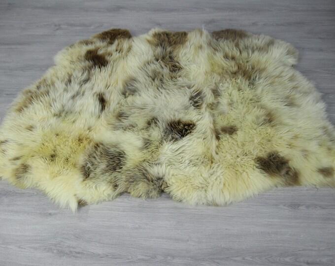 Triple Sheepskin Rug | Creamy white Sheepskin | Brown Ivory Sheepskin | Sheepskin Throw | Sheepskin Rug | #Luszy11