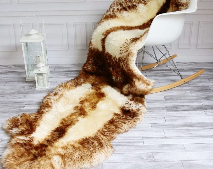 Double Sheepskin Rug | Long rug | Shaggy Rug | Chair Cover | Runner Rug | Brown Rug | Carpet | Brown Sheepskin | Brown Sheepskin