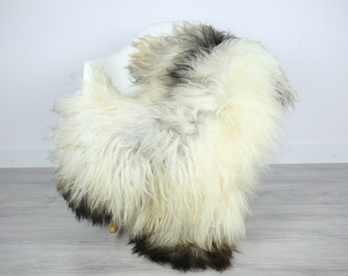 Icelandic Sheepskin | Real Sheepskin Rug | | Large Sheepskin Rug Ivory Gray | Fur Rug | Homedecor | Sheepskin Throw | Long fur #colisl37