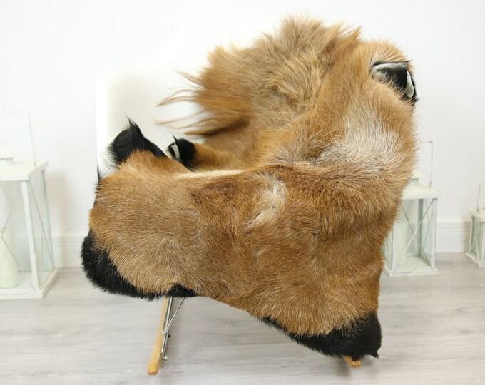 Natural real Goatskin rug, Goat Hide Goat Rug Carmel Brown #Goat30