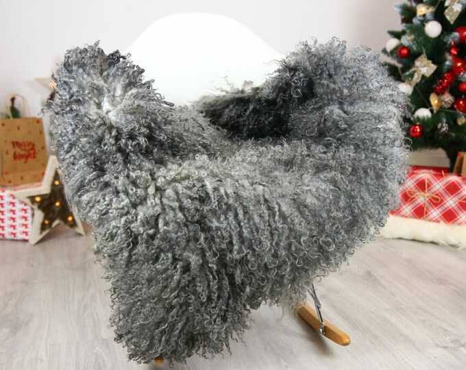 Genuine Rare Gotland Sheepskin Rug - Curly Fur Rug - Natural Sheepskin - Gray  Sheepskin #CHRISTGOT13