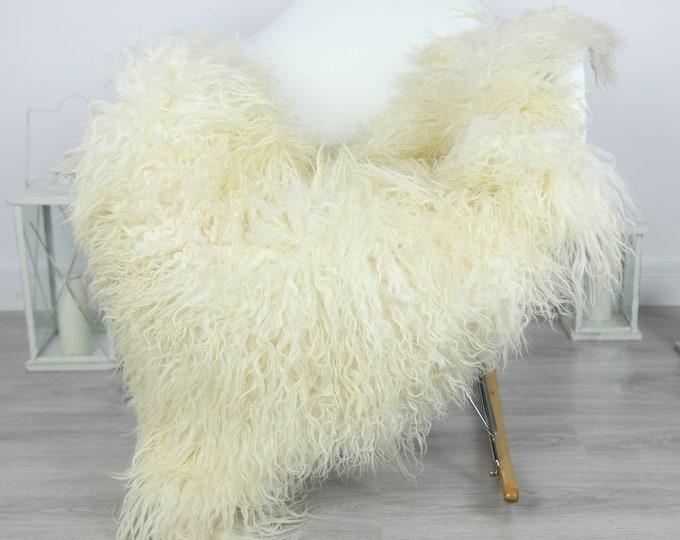 Genuine Rare Mongolian Sheepskin Rug - Curly Fur Rug - Natural Sheepskin - Ivory Sheepskin #CURLY25