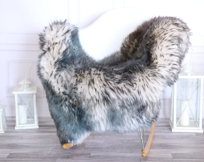 Sheepskin Rug | Real Sheepskin Rug | Shaggy Rug | Scandinavian Rug | | SCANDINAVIAN DECOR | White Blue Sheepskin  #MIHER23