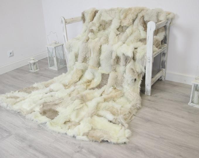 Luxurious Toscana Sheepskin Real Fur Throw   Real Fur Blanket   Sheepskin throw   Creamy Beige Throw