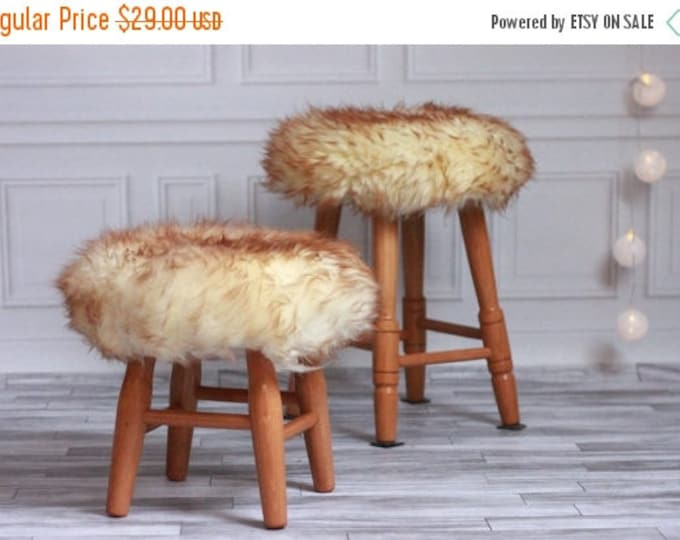 ON SALE Sheepskin Stool Cover | Round Stool Cover | Furry Stool | Scandinavian Decor | Stool Cover | Ottoman Cover | Chair Pad