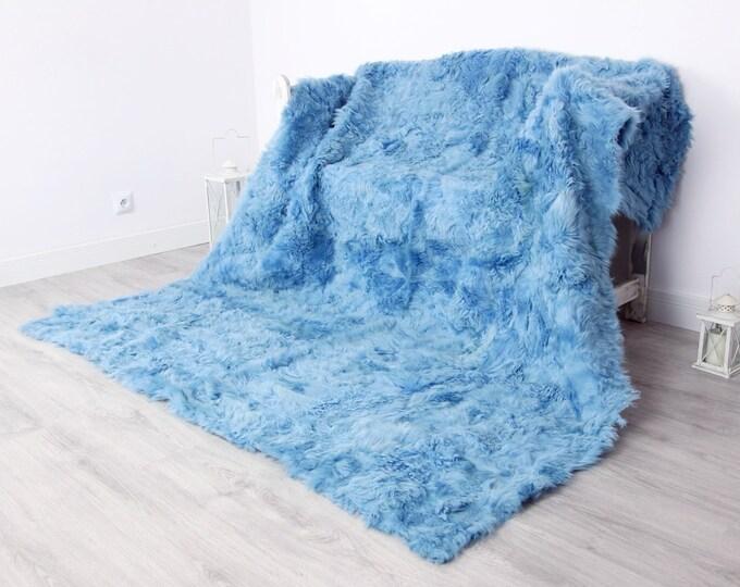 Luxurious Toscana Sheepskin Real Fur Throw | Real Fur Blanket | Sheepskin throw | Blue Throw