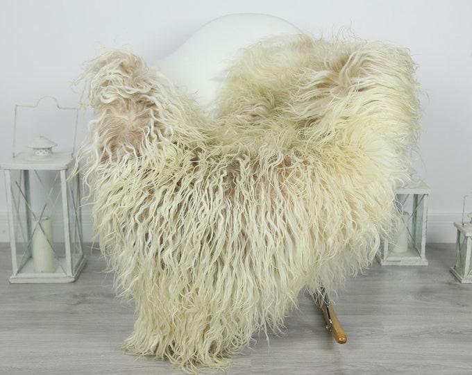 Genuine Rare Mongolian Sheepskin Rug - Curly Fur Rug - Natural Sheepskin - Ivory Beige Sheepskin #CURLY10