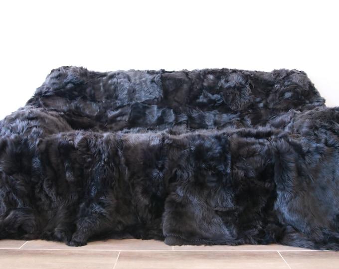 Luxurious Toscana Sheepskin Real Fur Throw | Real Fur Blanket | Sheepskin throw | Graphite Throw