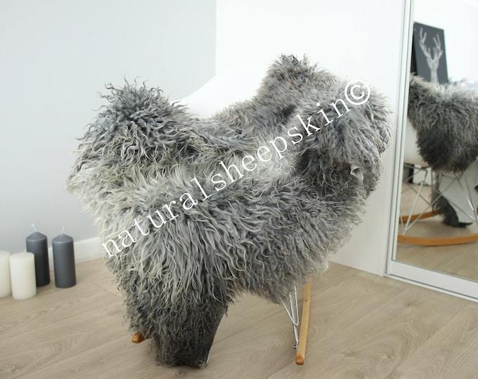 Genuine Rare Gotland Sheepskin Rug - Curly Fur Rug - Natural Sheepskin - Gray Sheepskin #FEBGOT17