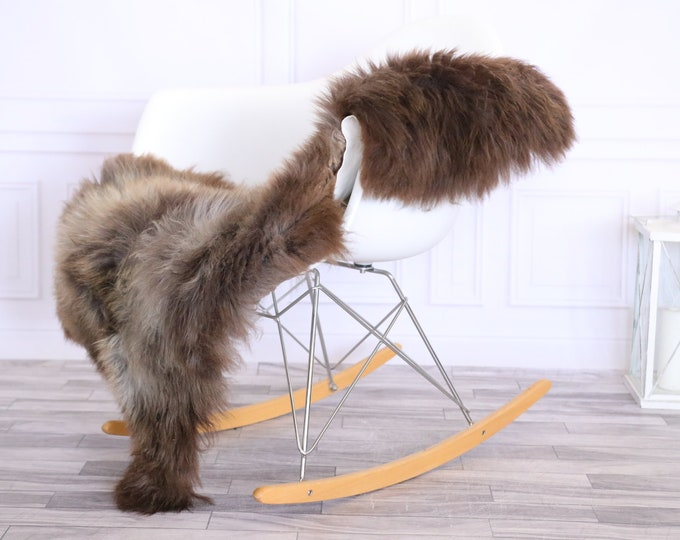 Sheepskin Rug | Real Sheepskin Rug | Shaggy Rug | Chair Cover | Sheepskin Throw | Brown Gray | CHRISTMAS DECOR | #LISHER18