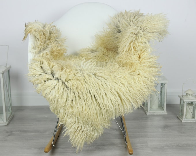 Genuine Rare Tuscan Lamb Sheepskin Rug - Curly Fur Rug - Natural Sheepskin - Ivory  Sheepskin | #CURLY18