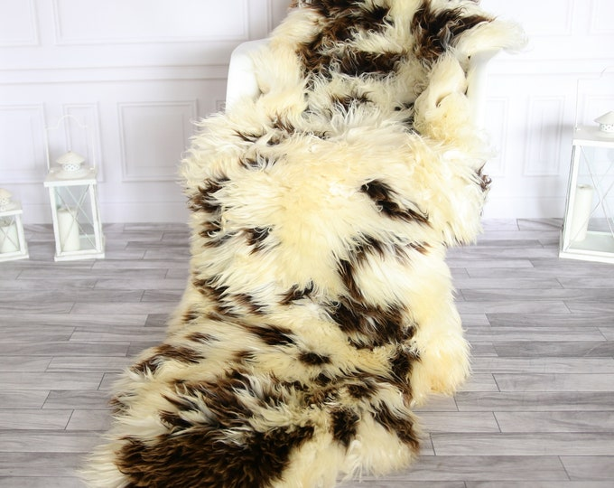 Double Sheepskin Rug | Long rug | Shaggy Rug | Chair Cover | Runner Rug | Brown Rug | Carpet | Brown Sheepskin