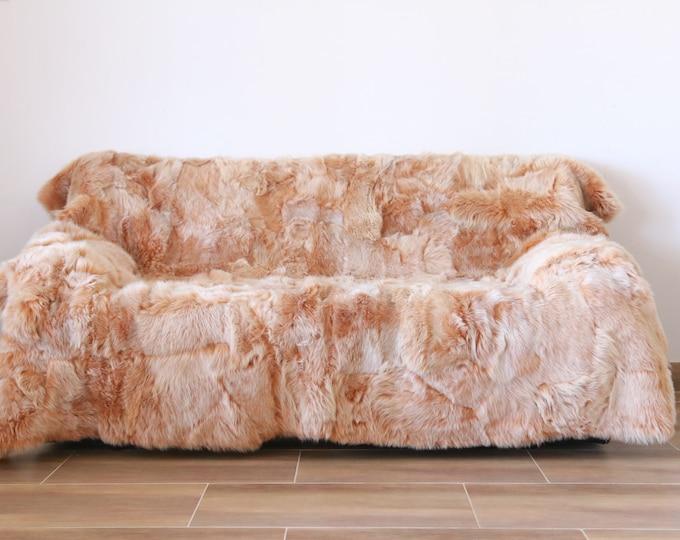 Luxurious Toscana Sheepskin Real Fur Throw | Real Fur Blanket | Sheepskin throw | Salmon pink Throw