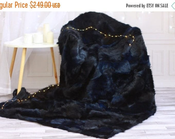ON SALE Sheepskin Throw | Navy Blue Bed Throw | Navy Fur Throw | Sofa Throw | Dark Blue Throw | Sheepskin Area Rug | Navy blue Sheepskin Rug