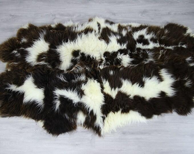 Quattro Sheepskin Rug | Creamy white Sheepskin | Brown White Sheepskin | Sheepskin Throw | Sheepskin Rug | #Luszy13