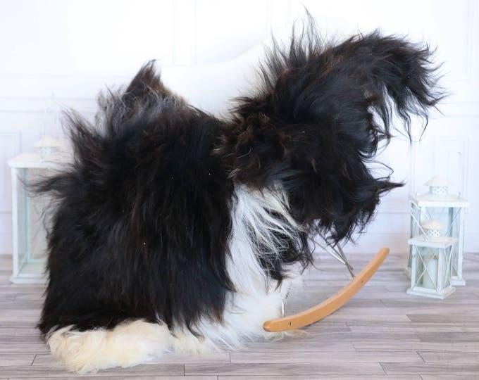 Icelandic Sheepskin | Real Sheepskin Rug | Black White Sheepskin Rug | Fur Rug | Christmas Decorations #ISLA26